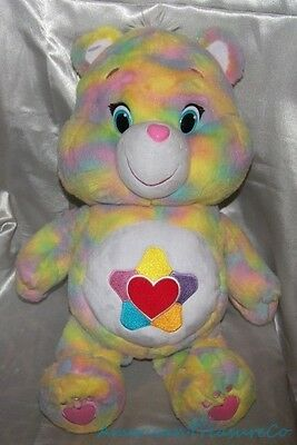"RARE 2015 Just Play Care Bears Big Plush 21"" Tie Dye True Heart Bear Star Belly"