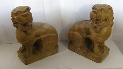 Pair Antique  Chinese Large Wood Carved Foo-Lion Guardian Statues