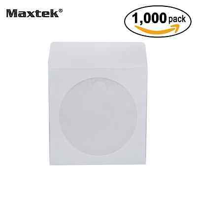 Maxtek 1,000 Pieces White Paper CD DVD Sleeves Envelope Holder with Clear Window
