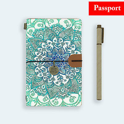Genuine Leather Journal Travel Diary Travelers Passport Size Emerald Aztec