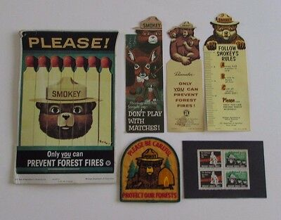 Vtg Smokey The Bear Fire Prevention Stamps Sign Bookmarks Patch