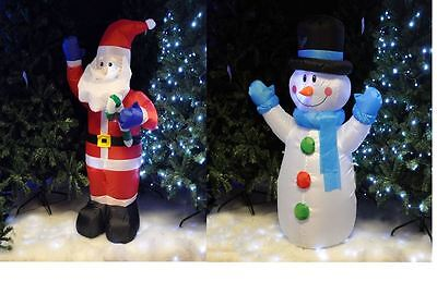 4Ft Inflatable Santa Or Snowman With 3 White Led Xmas Festive