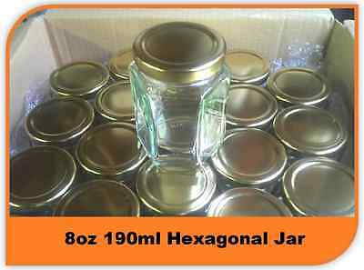 72 X 8oz 196ml HEXAGONAL PRESERVE HEX GLASS JAR JAM HONEY CHUTNEY WITH LIDS