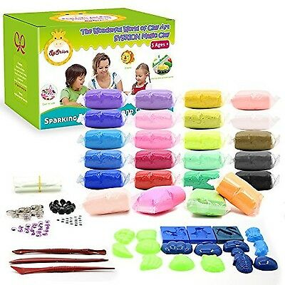 SySrion Air Dry Clay 24 Colors Ultra Light Modeling Clay Magic Crafts Kit, NEW