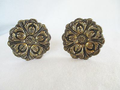 "Vintage Large 3"" Pair Brass Curtain Tiebacks Rosettes Spain Ornate"