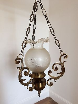 Attractive Vintage Antique Style Brass Oil Hanging Light