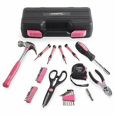 VonHaus Pink 39 Piece Household Hand Tool Set Kit Box with Hard Storage Case
