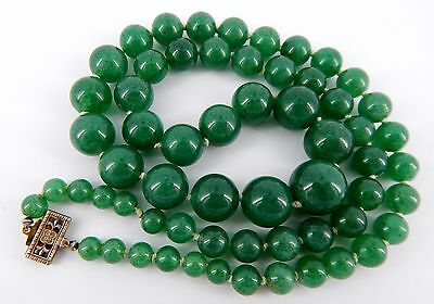 """Gorgeous Antique Chinese Export Silver 12mm-3mm Graduated Jade 22"""" Necklace"""