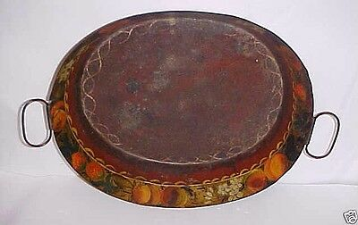 Mid 1800's Toleware Painted Red Floral Decorated Serving Tray