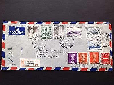 1950 Netherlands Airmail Cover To Singapore