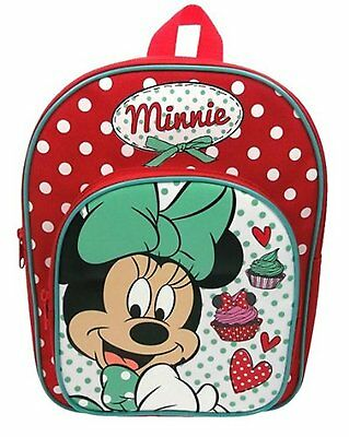 Minnie Mouse Red Spotty Cake Design Backpack with front pocket