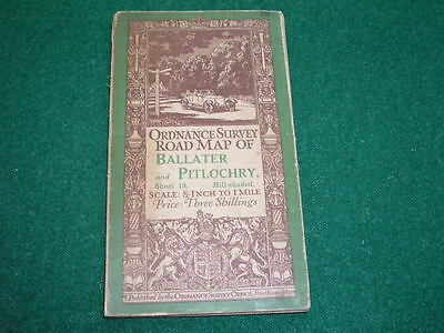 Antique Ordnance Survey Road Map on Cloth 1912 Ballater and Pitlochry Sheet 19