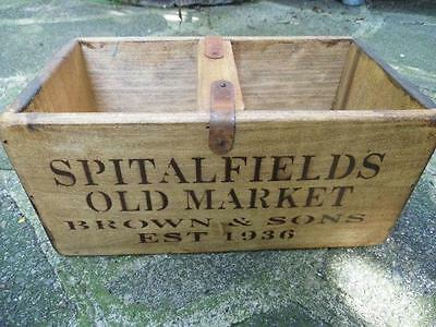 Fab Vintage Style Hand Made Small Pine Crate Box-Apples & Pears-Spitalfields Mkt