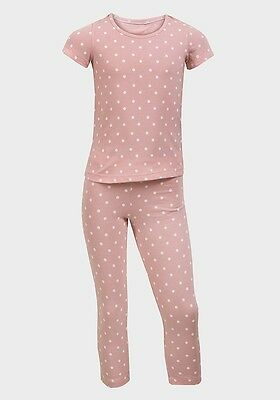 Girls Ex M&S Nightwear Pyjama Sleepwear - Choice Of 2 Colours - 2 Piece Set