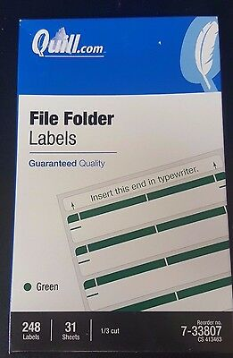 "Quill File Folder Labels; Green, 19/32 x 3-1/2"", 248 Labels per box 7-33807"