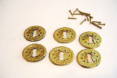 Set of 6 Oval Key Hole Covers Cast Brass Escutcheons Victorian NOS