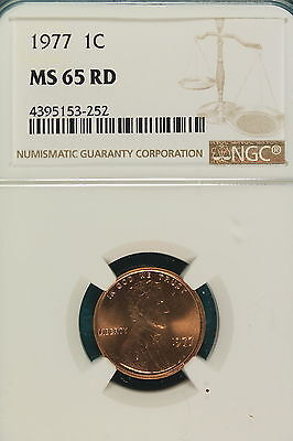 1977-P NGC MS65 RED Lincoln Memorial Cent!! #A5565