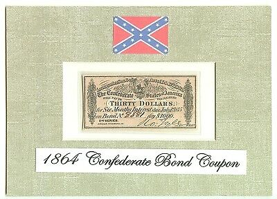 1864 Genuine $30 Confederate Bond Coupon - with BATTLE FLAG