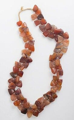 Large Carnelian Agate Beads necklace. Size 28 inches length.