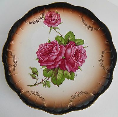 "Vintage Limoges China 9 1/8"" Hand Painted Plate Pink Roses Gold Brown Black"