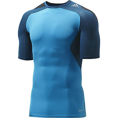 Adidas Mens Techfit Running Gym Fitness Compression Tee Shirt Top