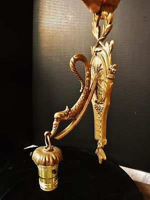 Antique Solid Brass Ornate Pendant Wall Sconce Dragon Dolphin Classical Style