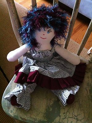 NEW Fabric Rag Doll multi color Dress- 20 Inches cute and funky