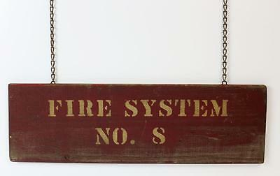 "Antique Wooden 24"" Fire System No.7/8 Sign American Crayon Factory Sandusky Ohio"