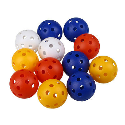 50Pcs Plastic Whiffle Airflow Hollow Golf Practice Training Sports Balls