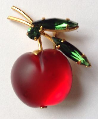 Vintage Austria Signed Molded Red Cherry Fruit Rhinestone Brooch P17
