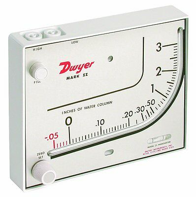 Dwyer MARK II 25 Inclined/Vertical Manometer (0-3 w.c.) using Red Gauge Oil