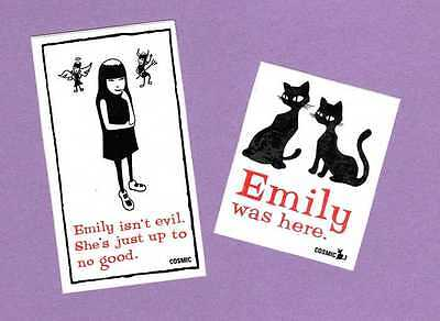 RARE Emily the Strange 2 Stickers Emily Isn't Evil Just Up To No Good Cats