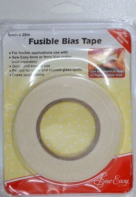 Sew Easy Fusible Bias Tape, 5mm x 20m, Instructions Included