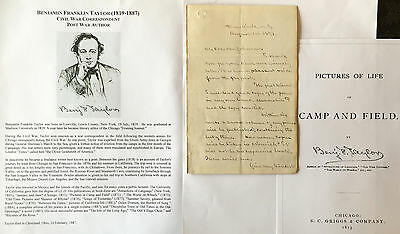 Civil War Expelled Correspondent Journalist Poet Author Orator Letter Signed '73