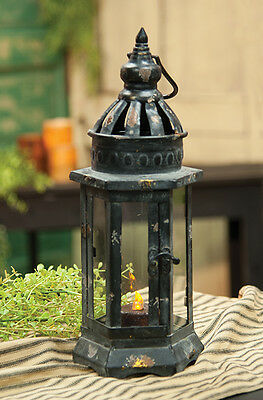 "Rustic Black Metal Candle Lantern, 14 Inches Tall  x 5.5"" Hexagon, Glass Doors"