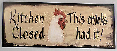 Kitchen Closed This Chick'S Had It Vintage Looking Patina Metal Wall Decor Sign