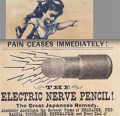 1884 Electric Nerve Pencil Toothache Japanese Pain Remedy Advertising Trade Card