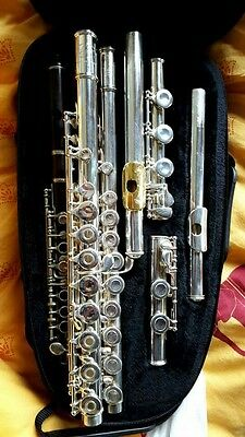 Sankyo Silver plated body + Selmer Silver Sterling Flute B foot engraved lip