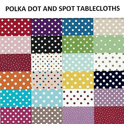 Polka Dots Spot Wipe Pvc Tablecloth Oilcloth Vinyl Table Cover Protector