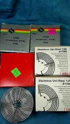 6 stainless steel  35mm and 120 film reels