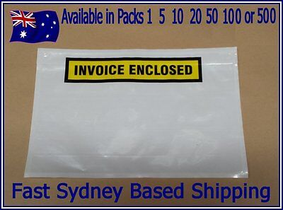 LARGE A5 150 x 230mm WHITE INVOICE ENCLOSED Envelope Document Sticker Pouch