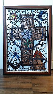 """Stained Glass Masonic Cross And Symbols hanging lighted box 23.5"""" x 16.5"""" x 4.5"""""""
