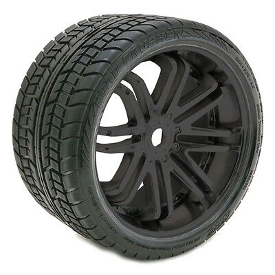 Sweep Road Crusher Belted Tyre Black 17mm Wheels 1/4 Offset (Pair) - SRC0001B
