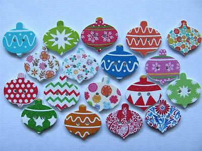 BB BUTTONS CHRISTMAS BAUBLES WOOD mixed pk of 15 BULK sewing craft xmas