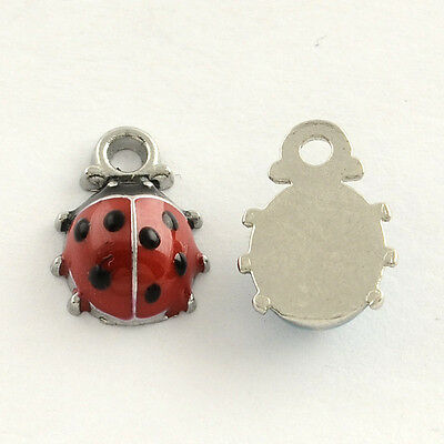 5 10 Ladybird Red Black Enamel Silver Plated Charms Pendants 9mm x 12mm (001)