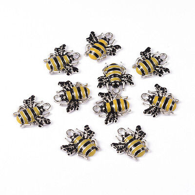 5 10 Wasp Bee Yellow Black Enamel Silver Plated Charms Pendant 17mm x 18mm (020)
