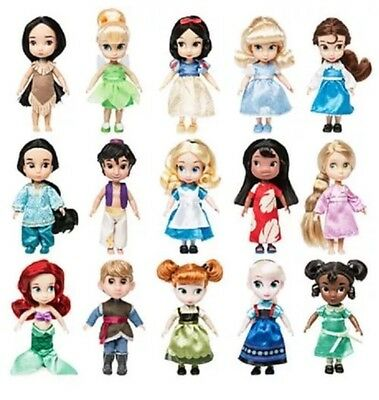 "Disney Store ANIMATORS Collection 5"" MINI DOLL GIFT SET of 15-New in Display Box"