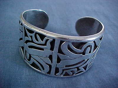 Taxco Sterling Cuff Bracelet By Beto Huge Heavy Aztec Design Mexican Silver