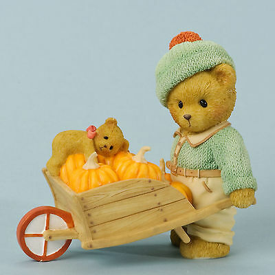 Cherished Teddies Fall Harvest Thanksgiving Thadeus Wheelbarrow 4035941 Sale