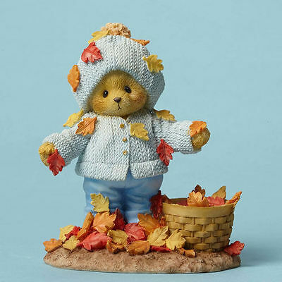 Cherished Teddies Fall Harvest Thanksgiving Abner With Leaves 4049730 Sale